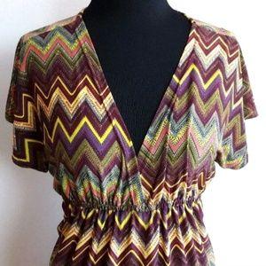 Cristina Love Chevron Print Dress Size Medium